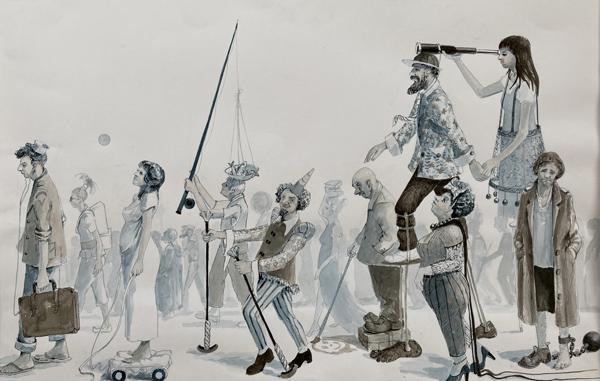 Walkers In Blue